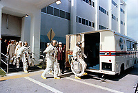 May 18 1969 File Photo - <br /> <br /> Astronaut John W. Young, command module pilot leads, followed by astronauts Thomas P. Stafford, commander and Eugene A. Cernan, lunar module pilot, entering the transfer van which carried them to Pad B, KSC Launch Complex 39, where their Apollo 10 spacecraft awaited them.