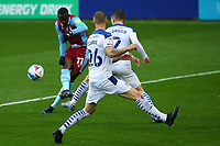 Scunthorpes Abo Eisa has a shot in the second half during the Sky Bet League 2 match between Tranmere Rovers and Scunthorpe United at Prenton Park, Birkenhead, England on 3 October 2020. Photo by Chris Donnelly/MI News /PRiME Media Images
