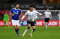 Morgan Whittaker of Swansea City in action during the Sky Bet Championship match between Swansea City and Cardiff City at the Liberty Stadium in Swansea, Wales, UK. Saturday 20 March 2021