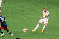 FOXBOROUGH, MA - MAY 22: Daniel Royer #77 of New York Red Bulls passes the ball during a game between New York Red Bulls and New England Revolution at Gillette Stadium on May 22, 2021 in Foxborough, Massachusetts.
