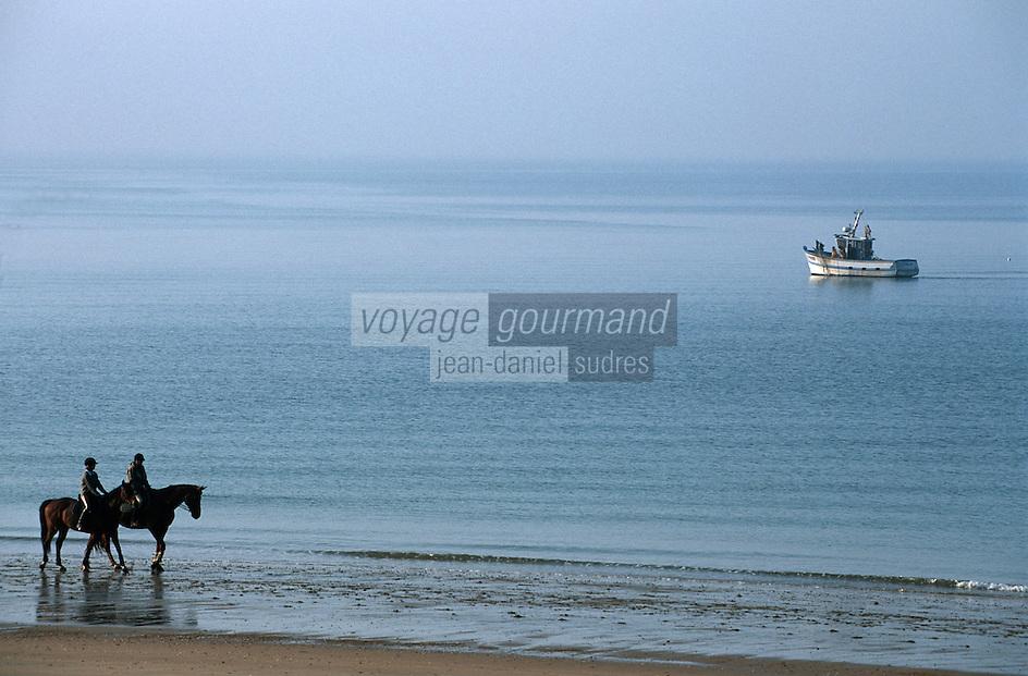 Europe/France/Pays de la Loire/44/Loire Atlantique/La Baule: Chevaux sur la Plage et bateau de pêche