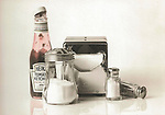 Vintage scan from print. Still-life with Heinz Ketchup. Early 1970's Art Center College food assignment.