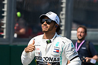 March 17, 2019: Lewis Hamilton (GBR) #44 from the Mercedes-AMG Petronas Motorsport team returns to the garage after the drivers parade prior to the start of the 2019 Australian Formula One Grand Prix at Albert Park, Melbourne, Australia. Photo Sydney Low