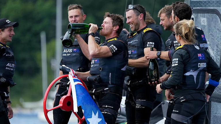 Australia skipper Tom Slingsby, the Season 1 champion, who celebrated a second successive event win with an on-boat champagne moment