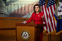 Speaker of the United States House of Representatives Nancy Pelosi (Democrat of California) offers remarks and fields questions from reporters during her weekly press conference at the U.S. Capitol in Washington, DC, Thursday, February 11, 2021. <br /> CAP/MPI/RS<br /> ©RS/MPI/Capital Pictures