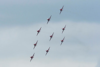 BNPS.co.uk (01202 558833)<br /> Pic: Graham Hunt/BNPS<br /> Date: 2nd September 2021.<br /> <br /> The Red arrows performing their display on day 1 of Bournemouth Air Festival in Dorset on a warm overcast day.