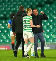 21st April 2021; Celtic Park, Glasgow, Scotland; Scottish Womens Premier League, Celtic versus Rangers; Celtic Women Manager Fran Alonso celebrates with Jodie Bartle of Celtic Women after the match
