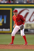 Clearwater Threshers shortstop Devin Lohman (8) during a game against the Tampa Yankees on April 21, 2015 at Bright House Field in Clearwater, Florida.  Clearwater defeated Tampa 3-0.  (Mike Janes/Four Seam Images)