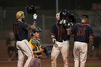 AZL Giants Black catcher Cody Brickhouse (6) is congratulated by Frankie Tostado (10) and Marcos Campos (15) after hitting a home run during an Arizona League game against the AZL Athletics at the San Francisco Giants Training Complex on June 19, 2018 in Scottsdale, Arizona. AZL Athletics defeated AZL Giants Black 8-3. (Zachary Lucy/Four Seam Images)