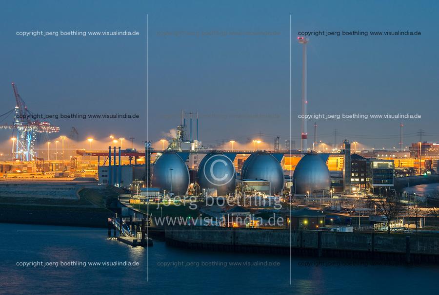 GERMANY, Hamburg, Nordex windturbine and water treatment plant and biogas plant, where sewage is processed to biogas, at river Elbe / DEUTSCHLAND, Hamburg, Hamburg Wasser Klaerwerk mit Biogasanlage Koehlbrandhoeft, Faultuerme an der Elbe