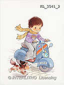 Interlitho, Mercedes, CHILDREN, nostalgic, paintings, boy, motobike, dog(KL3541/2,#K#) Kinder, niños, nostalgisch, nostálgico, illustrations, pinturas