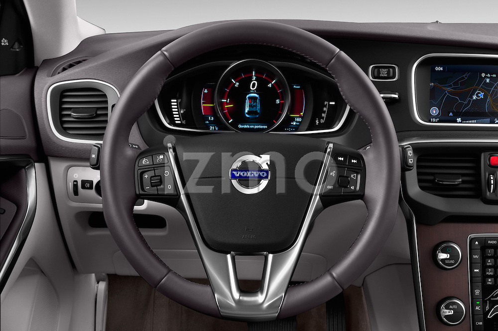 Steering wheel view of a 2013 Volvo V40 Cross Country Summum Hatchback