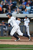 West Michigan Whitecaps second baseman Javier Betancourt (7) at bat during a game against the Great Lakes Loons on June 4, 2014 at Fifth Third Ballpark in Comstock Park, Michigan.  West Michigan defeated Great Lakes 4-1.  (Mike Janes/Four Seam Images)
