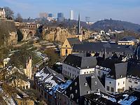 Altstadt, Grund und Europazentrum auf dem Kirchberg, Luxemburg-City, Luxemburg, Europa, UNESCO-Weltkulturerbe<br /> Hictoric city, Grand and European center, Luxembourg City, Europe, UNESCO Heritage
