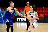 27-03-2021: Basketbal: Donar Groningen v Den Helder Suns: Groningen Donar speler Will Moreton met Den Helder speler Ben Kovac