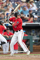 Texas Tech Red Raiders catcher Braxton Fulford (26) at bat during Game 5 of the NCAA College World Series against the Arkansas Razorbacks on June 17, 2019 at TD Ameritrade Park in Omaha, Nebraska. Texas Tech defeated Arkansas 5-4. (Andrew Woolley/Four Seam Images)