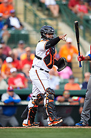 Baltimore Orioles catcher Audry Perez (76) points to the first base umpire for a call during a Spring Training exhibition game against the Dominican Republic on March 7, 2017 at Ed Smith Stadium in Sarasota, Florida.  Baltimore defeated the Dominican Republic 5-4.  (Mike Janes/Four Seam Images)