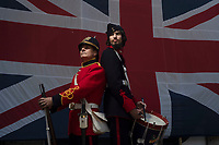 BNPS.co.uk (01202 558833)<br /> Pic: Zachary Culpin/BNPS<br /> <br /> Pictured: Carl Bowdidge (left) and Josh Isbell at the open day.<br /> <br /> Pictured: Dressed to impress - The Nothe Fort Artillery were on parade in front of a huge Union Jack to celebrate Heritage Open Day in Weymouth, Dorset today (Sunday).<br /> <br /> The Nothe Fort, which was built between 1860 and 1872, opened its doors for free to mark England's largest festival of history and culture.