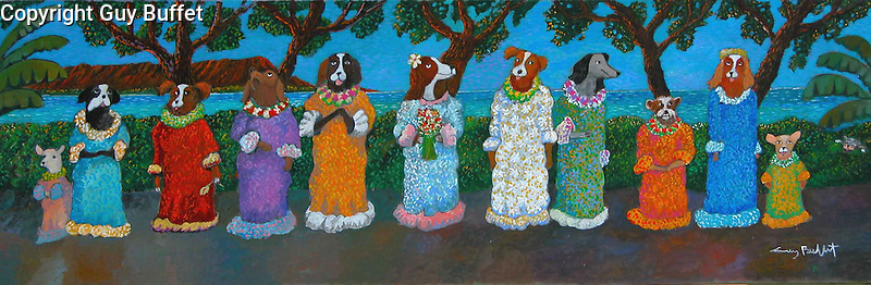 """""""Miss Waikiki Beach 2010""""<br /> Limited Edition Giclee 12"""" x 36""""<br /> SN Canvas $950.<br /> AP Paper w/Original Watercolor Remarque $1,550.<br /> Another classic Buffet dog painting!"""
