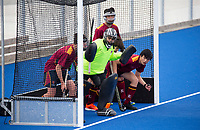 Kings College goalkeeper Abbas Jiwanji - during the Division A Boys Final, between Saint Kentigern College and Kings College, during Upper North Island Secondary School Hockey Championship, North Harbour Hockey, North Shore, Auckland . Friday 9 October 2020 Photo: Brett Phibbs / www.bwmedia.co.nz / Hockey New Zealand