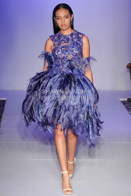 Model walks runway in an outfit from the Chasity Sereal Spring Summer 2016 collection by Chasity Sereal, at Fashion Gallery NYFW Designer's Collect Premier Spring Summer 2016 show, during New York Fashion Week.