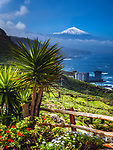 Spanien, Kanarische Inseln, Teneriffa, Blick ueber das Orotavatal und die Nordkueste zum schneebedeckten Pico del Teide (3.718 m) | Spain, Canary Islands, Tenerife, Orotava Valley, Northern coastline and snow covered Pico del Teide (3.718 m)