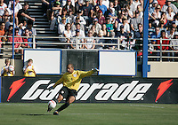 Tim Howard kicks the ball downfield. The USA defeated China, 4-1, in an international friendly at Spartan Stadium, San Jose, CA on June 2, 2007.