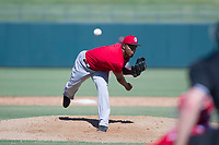 Cincinnati Reds pitcher Wendolyn Bautista follows through on his delivery during an Instructional League game against the Kansas City Royals on October 2, 2017 at Surprise Stadium in Surprise, Arizona. (Zachary Lucy/Four Seam Images)