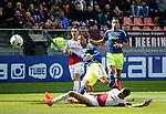 Nederland, Utrecht, 5 april 2015<br /> Eredivisie<br /> Seizoen 2014-2015<br /> FC Utrecht-Ajax (1-1)<br /> Ricardo van Rhijn van Ajax schiet op doel. V.l.n.r.: Jeff Hardeveld van FC Utrecht, Ricardo van Rhijn van Ajax, Ramon Leeuwin van FC Utrecht en Anwar El Ghazi van Ajax