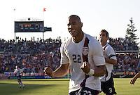 Oguchi Onyewu celebrates his goal. The USA defeated China, 4-1, in an international friendly at Spartan Stadium, San Jose, CA on June 2, 2007.