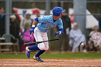 Indiana State Sycamores Jordan Schaffer (1) bunts during a game against the Dartmouth Big Green on February 21, 2020 at North Charlotte Regional Park in Port Charlotte, Florida.  Indiana State defeated Dartmouth 1-0.  (Mike Janes/Four Seam Images)