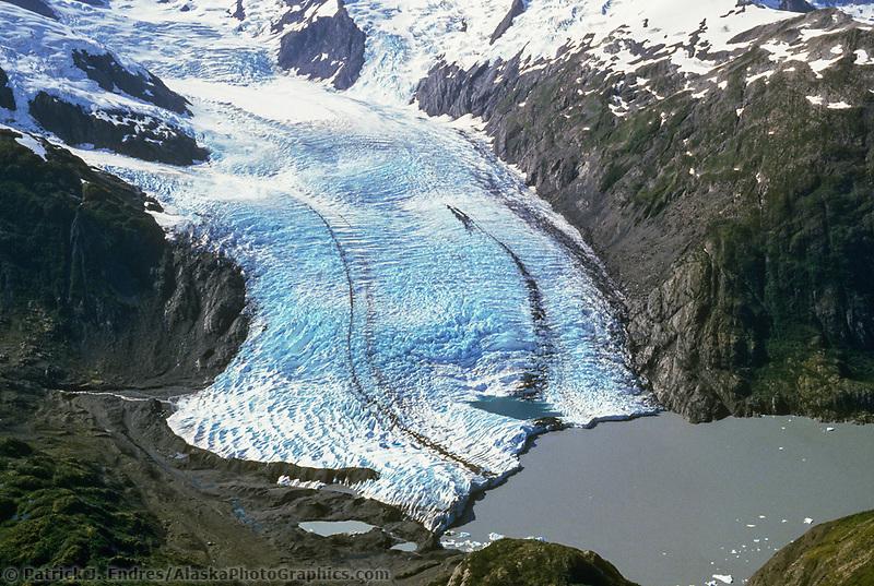 Aerial of Portage Glacier, Portage lake, Kenai Peninsula, Alaska