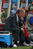 England manager Roy Hodgson shows a look of dejection in the dugout