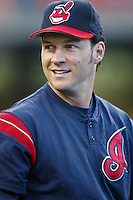 Brady Anderson of the Cleveland Indians before a 2002 MLB season game against the Los Angeles Dodgers at Dodger Stadium, in Los Angeles, California. (Larry Goren/Four Seam Images)