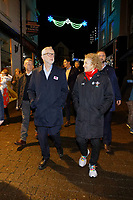 Pictured L-R: Jeremy Corbyn with Christina Rees MP in Carmarthen. Saturday 07 December 2019<br /> Re: Labour Party leader Jeremy Corbyn pre-election campaign in Barry, south Wales, UK.