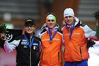 SCHAATSEN: ERFURT: Gunda Niemann-Stirnemann Halle, 03-03-2013, Essent ISU World Cup, Season 2012-2013, podium 500m Men A, Joji Kato (JPN), Jan Smeekens (NED), Ronald Mulder (NED), ©foto Martin de Jong