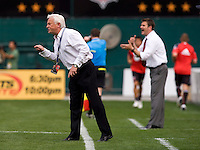 New York Red Bulls head coach Hans Backe yells to his team at RFK Stadium in Washington, DC.  The New York Red Bulls defeated D.CC United, 2-0.