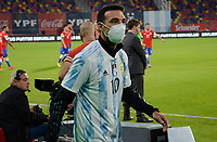 3rd June 2021; Estadio Único de Santiago del Estero, Santiago del Estero, Argentina; World Cup football qualification, Argentina versus Chile; Argentina manager Lionel Scaloni in mask