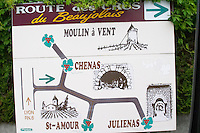 route des crus sign beaujolais burgundy france