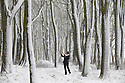 29/04/16 <br /> <br /> Carolyn Bointon stops to take a photograph among snow covered trees in Alsop Moor near Ashbourne after snowfall hits the Derbyshire Peak District.<br /> <br /> All Rights Reserved: F Stop Press Ltd. +44(0)1335 418365   +44 (0)7765 242650 www.fstoppress.com