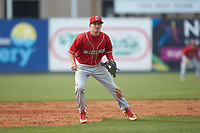 Lakewood BlueClaws third baseman Dalton Guthrie (5) on defense against the Kannapolis Intimidators at Kannapolis Intimidators Stadium on April 8, 2018 in Kannapolis, North Carolina.  The Intimidators defeated the BlueClaws 4-3 in game two of a double-header.  (Brian Westerholt/Four Seam Images)