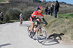 Megan Guarnier (USA) Boels Dolmans Cycling Team eventual winner in action during the 2015 Strade Bianche Women Elite cycle race 103km over the white gravel roads from San Gimignano to Siena, Tuscany, Italy. 8th March 2015<br /> Photo: Roberto Bettini/Bettini Photo/www.newsfile.ie