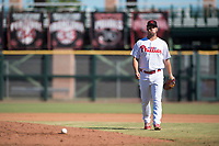 Scottsdale Scorpions relief pitcher Luke Leftwich (44), of the Philadelphia Phillies organization, walks towards the mound between innings of an Arizona Fall League game against the Mesa Solar Sox at Scottsdale Stadium on November 2, 2018 in Scottsdale, Arizona. The shortened seven-inning game ended in a 1-1 tie. (Zachary Lucy/Four Seam Images)