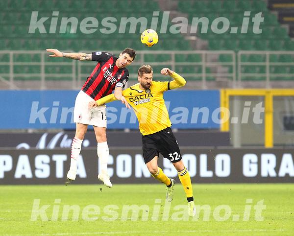 Milano 03-03-2021<br /> Stadio Giuseppe Meazza<br /> Serie A  Tim 2020/21<br /> Milan - Udinese<br /> nella foto:  Alessio Romagnoli                                                      <br />   Antonio Saia