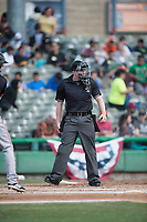 Home plate umpire Chris Presley-Murphy during a California League game between the San Jose Giants and the Stockton Ports on April 9, 2019 in Stockton, California. San Jose defeated Stockton 4-3. (Zachary Lucy/Four Seam Images)