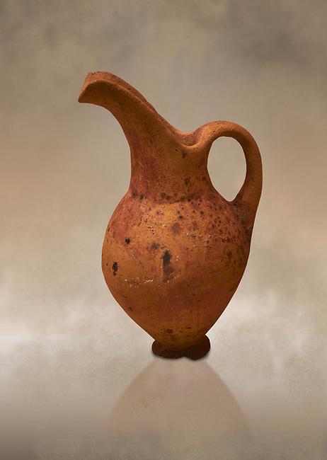 Hittite terra cotta beak spout pitcher. Hittite Old Period, 1650 - 1450 BC.  Hattusa Boğazkale. Çorum Archaeological Museum, Corum, Turkey. Against a warm art bacground.