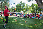 Performer Spike McGuire entertains a crowd during the NV150 Fair at Fuji Park in Carson City, Nev., on Saturday, August 2, 2014.<br /> (Photo By Kevin Clifford)