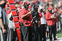 Arkansas offensive coordinator Kendal Briles looks on, Saturday, October 17, 2020 during the first quarter of a football game at Donald W. Reynolds Razorback Stadium in Fayetteville. Check out nwaonline.com/201018Daily/ for today's photo gallery. <br /> (NWA Democrat-Gazette/Charlie Kaijo)