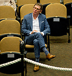 Celebrity Chef Bobby Flay watches the action on Day 1 of the Fasig Tipton Saratoga Select Yearling Sale at the Humphrey S. Finney Sales Pavilion on August 6, 2018 in Saratoga Springs, New York.