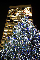 AVAILABLE FROM WWW.PLAINPICTURE.COM FOR LICENSING.  Please go to www.plainpicture.com and search for image # p5690255.<br /> <br /> Christmas Tree in Bryant Park and W.R. Grace Building Illuminated at Night, Midtown Manhattan, New York City, New York State, USA